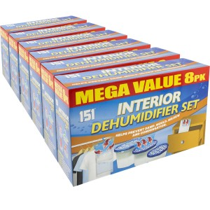 18 x 8 Pack Dehumidifier Mould Damp Pack Interior Hanging Tub Traps Water Moisture by 151