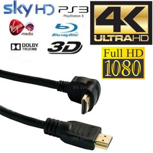 10 x 6m HDMI Right Angled Gold Plated Cable Ethernet Lead HDTV PS3/4 SKY 3D 4K