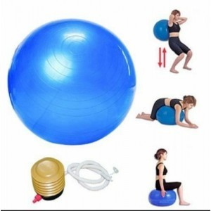 10 x 65 cm Quality Gym Ball - Exercise - Pilates  - Anti Burst - Blue With Pump
