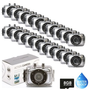 20 Waterproof HD 720p Action Camera in Silver and with Full Accessories + 8GB SD CARD