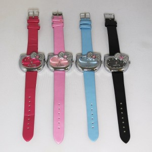 16 x Fashion Hello Kitty Watch Bow Knot Cat Face Crystal Quartz Wristwatch with Leather Strap
