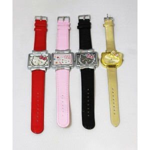 16 x Fashion Hello Kitty Square Watch with Bow Knots Wristwatch with Leather Strap